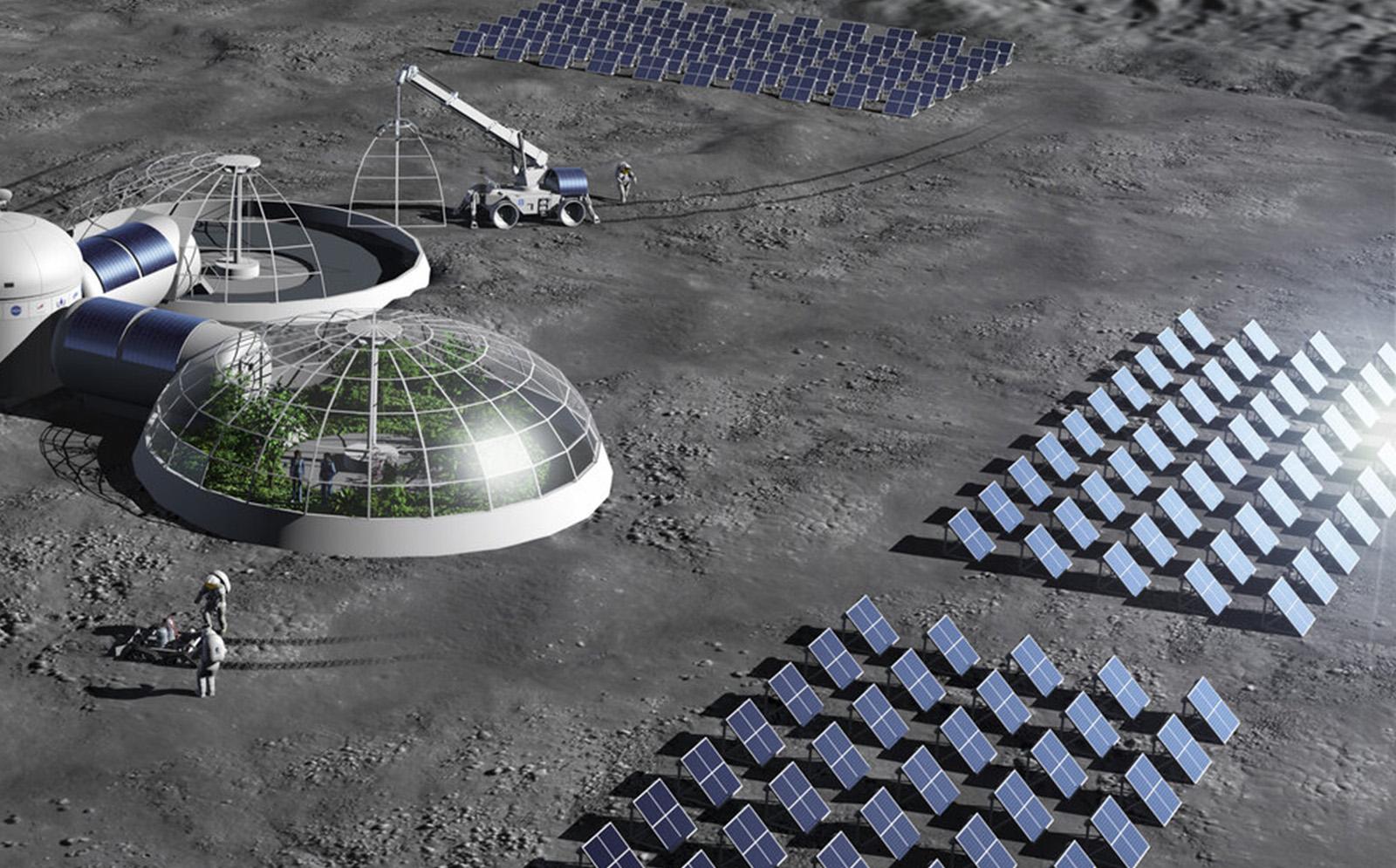 Instalación de paneles solares en la luna